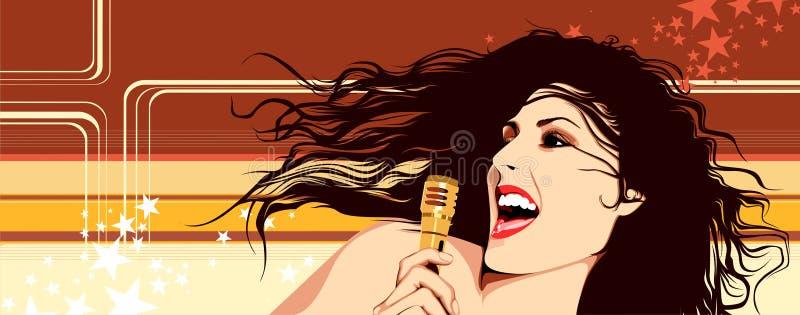 Menina de canto ilustração royalty free