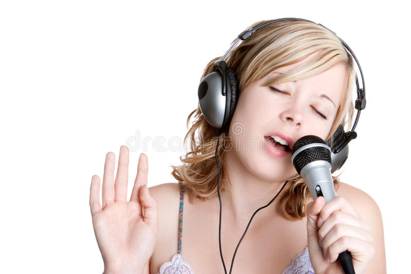 Menina de canto da música imagem de stock