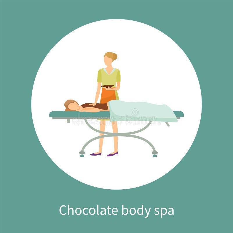 Menina de cartaz dos termas do corpo do chocolate coberta pela loção ilustração stock