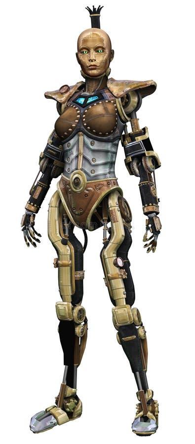 Menina de cobre do robô ilustração royalty free