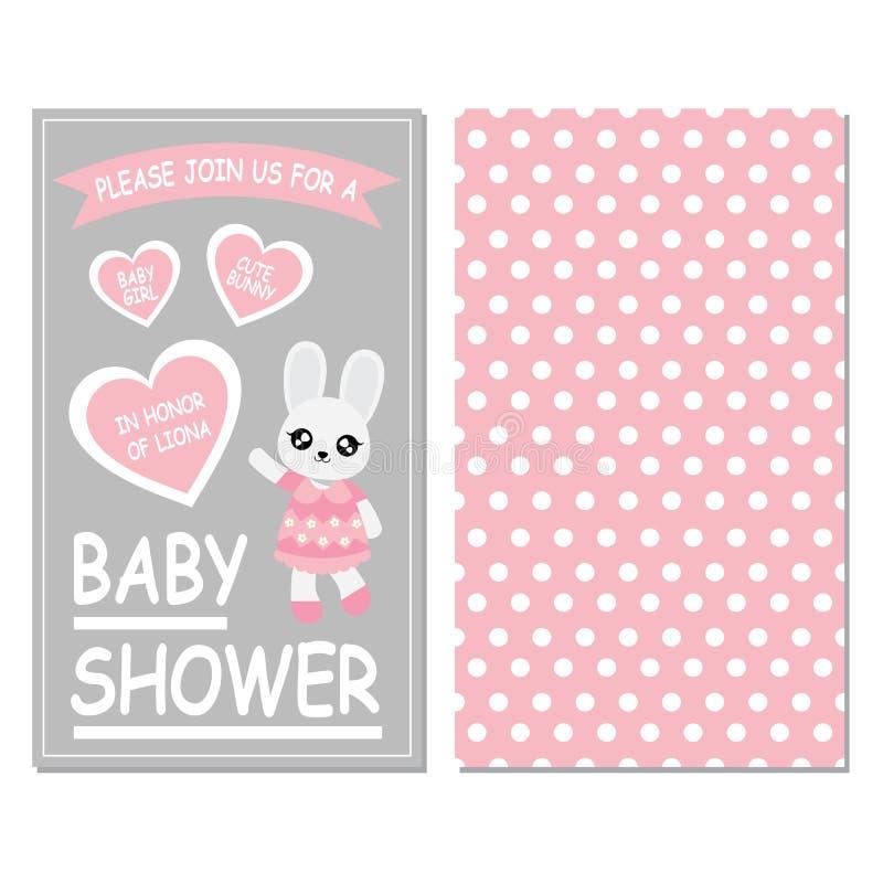 Menina de coelho bonito no fundo cor-de-rosa e cinzento da cor ilustração stock