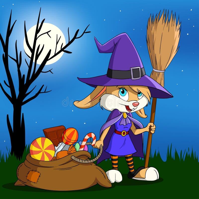 Menina de coelho de Halloween dos desenhos animados com saco dos doces. ilustração stock