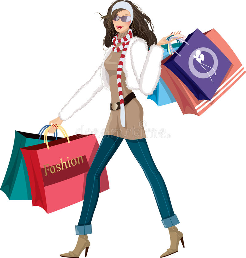 Menina de compra ilustração royalty free