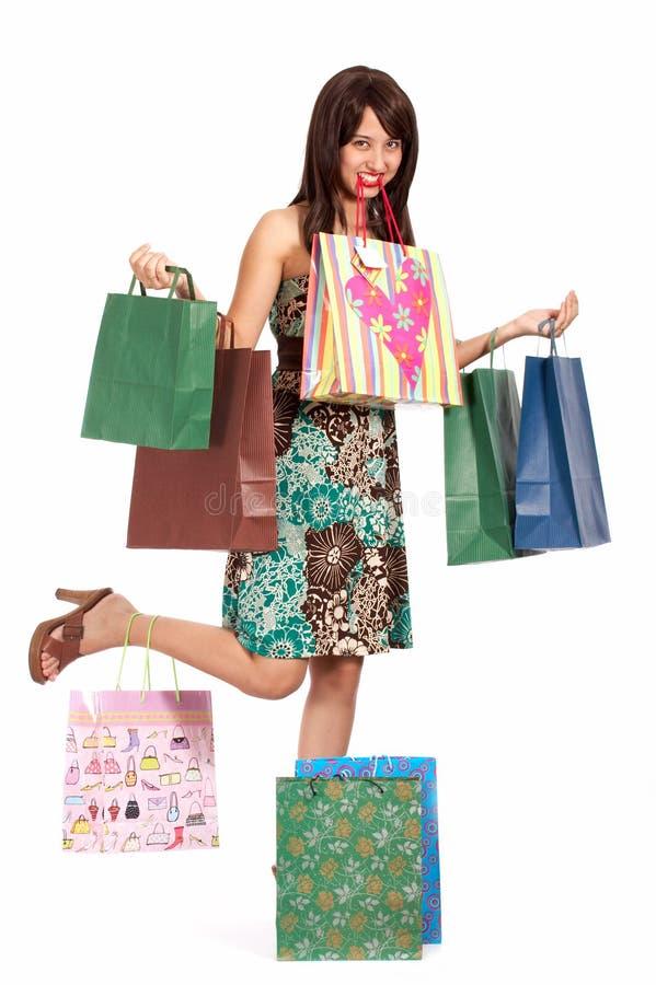 Menina de compra bonita fotos de stock