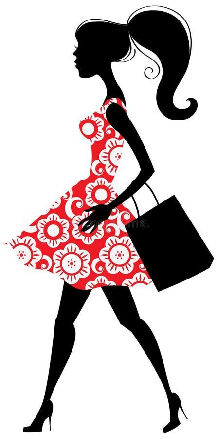 Menina de compra da forma ilustração do vetor