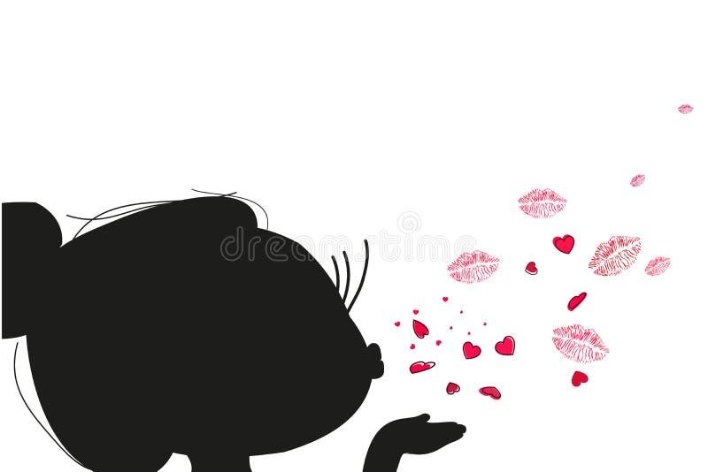 Menina de Cutie que envia o vetor do beijo e do coração ilustração royalty free