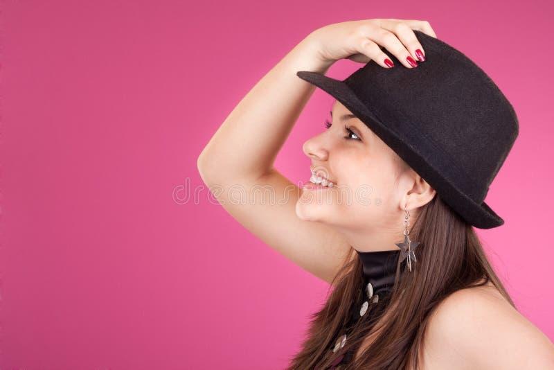 Menina de dança com chapéu imagem de stock royalty free