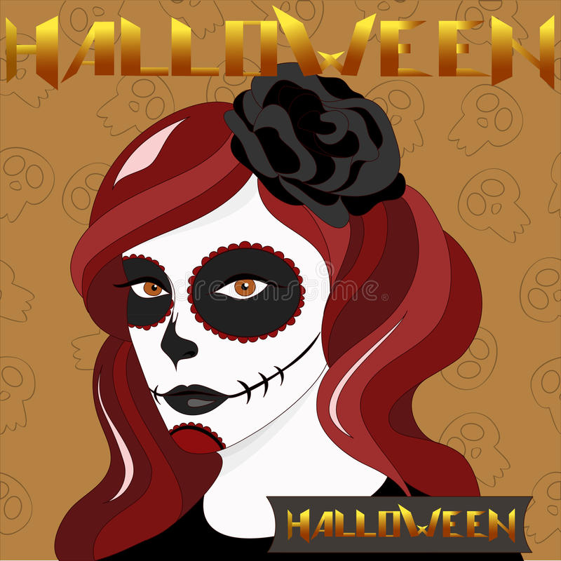 Menina de Dia das Bruxas com composição do crânio ilustração royalty free