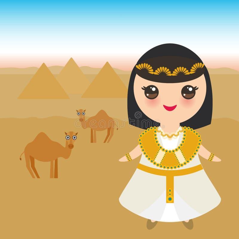 Menina de Egito antigo no traje e no chapéu nacionais Crianças dos desenhos animados no vestido tradicional Egito antigo, pirâmid ilustração stock