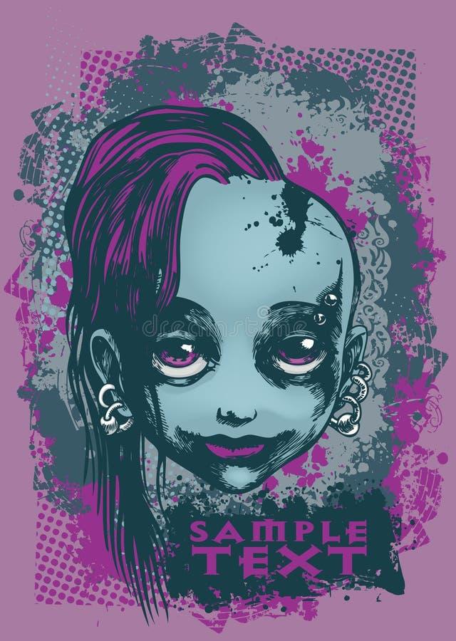 Menina de Emo ilustração royalty free