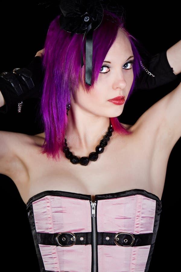 Menina de Emo com mãos na cabeça imagens de stock