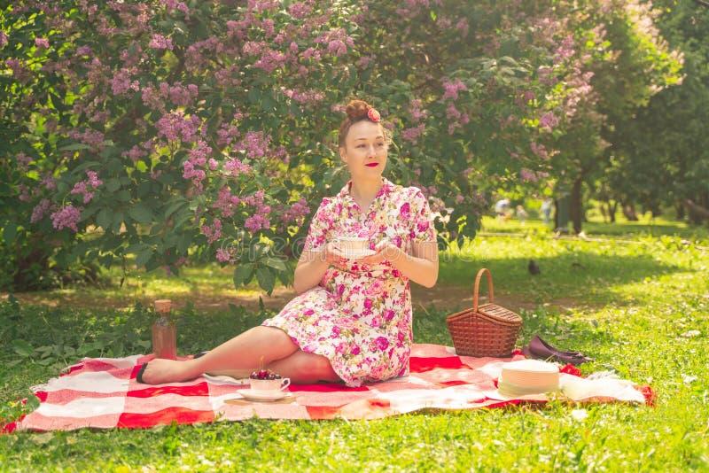 A menina de encantamento do pinup do querido em um vestido do verão em uma cobertura quadriculado no parque perto dos arbustos do fotos de stock royalty free