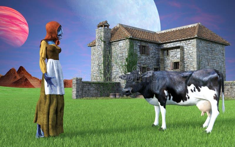 Menina de exploração agrícola do país do estrangeiro de espaço imagens de stock royalty free