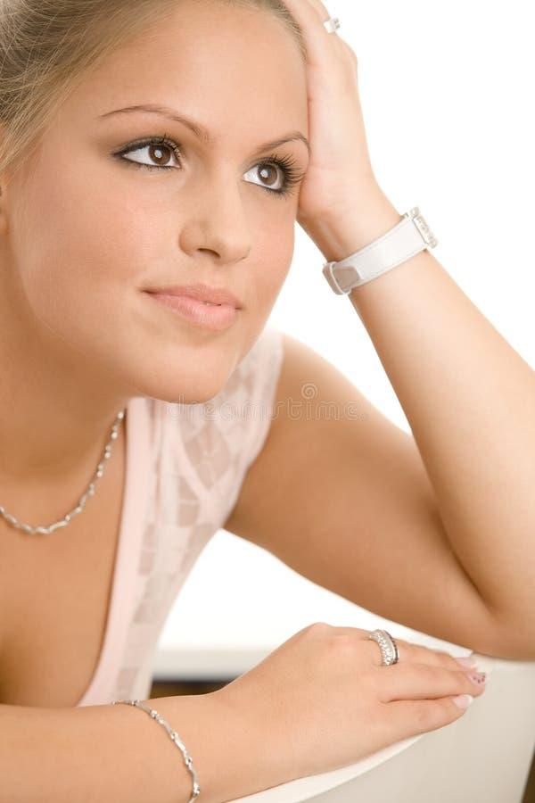 Menina de faculdade bonita fotografia de stock royalty free