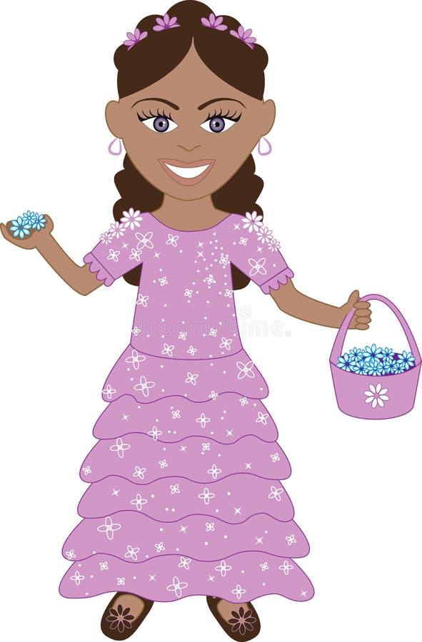 Menina de flor roxa do vestido ilustração royalty free
