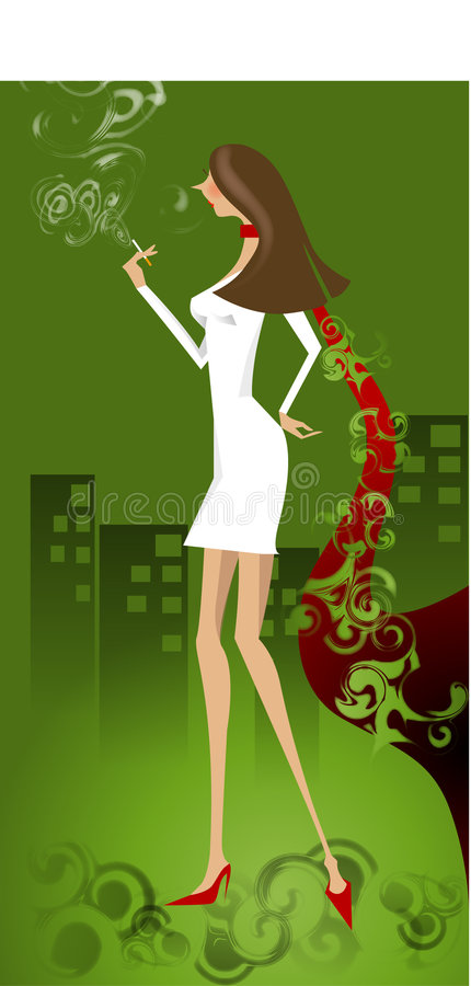 Menina de fumo na cidade ilustração royalty free