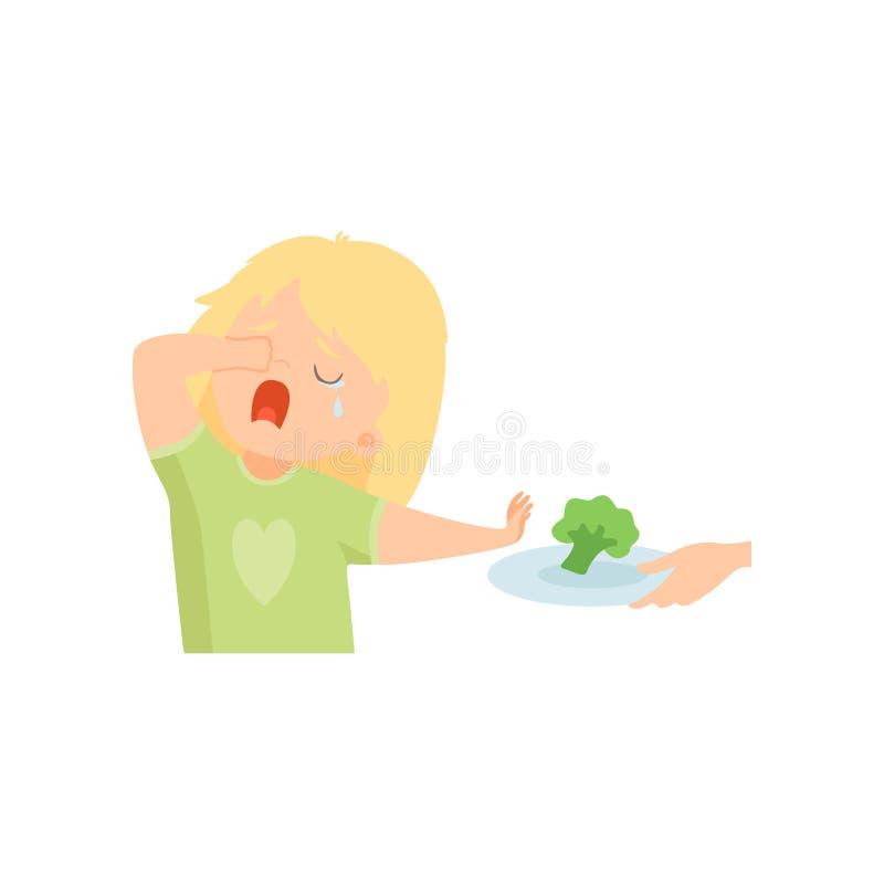 A menina de grito bonito que recusa comer brócolis, criança faz não como a ilustração saudável do vetor do alimento ilustração do vetor
