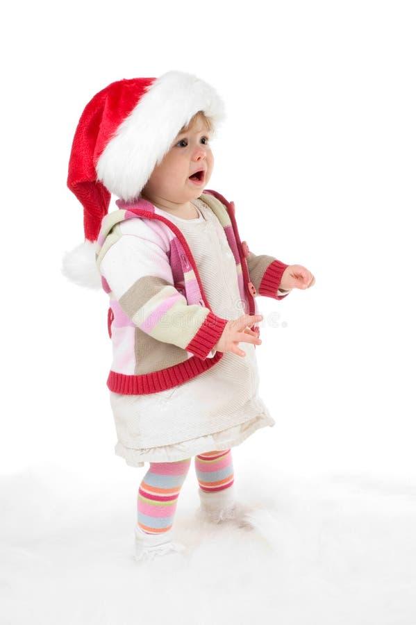 Menina de grito de Santa imagem de stock royalty free