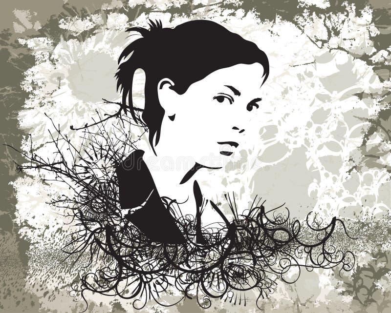 Menina de Grunge ilustração do vetor