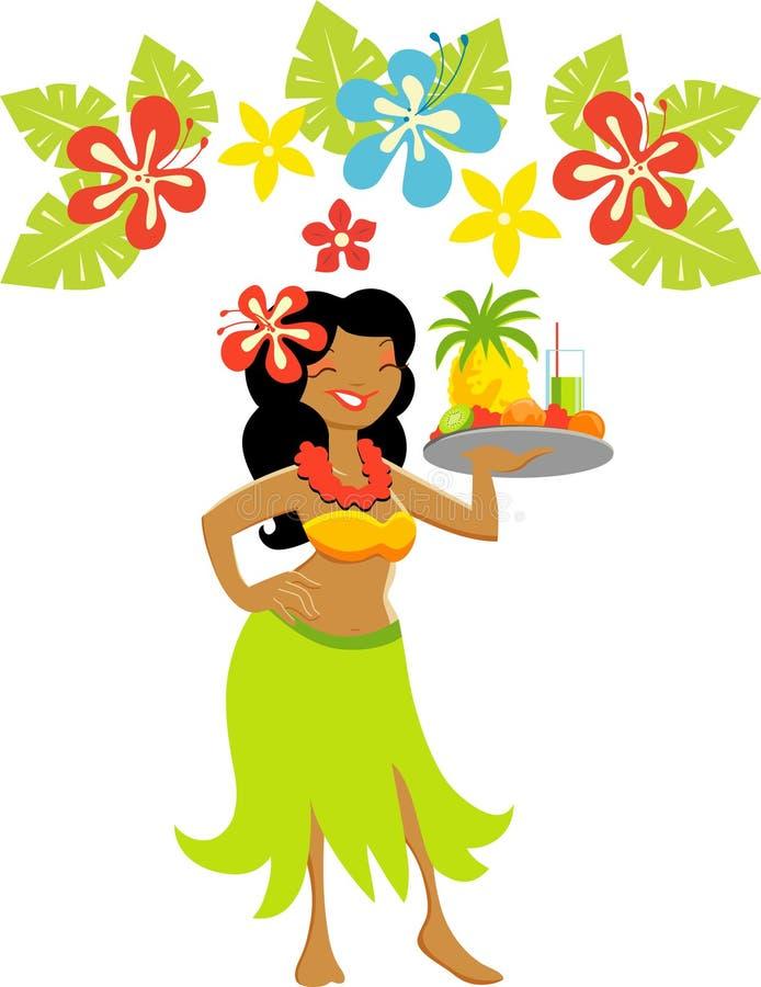 Menina de Havaí Luau ilustração stock