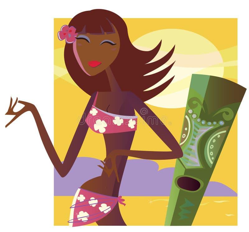 Menina de Hula ilustração stock