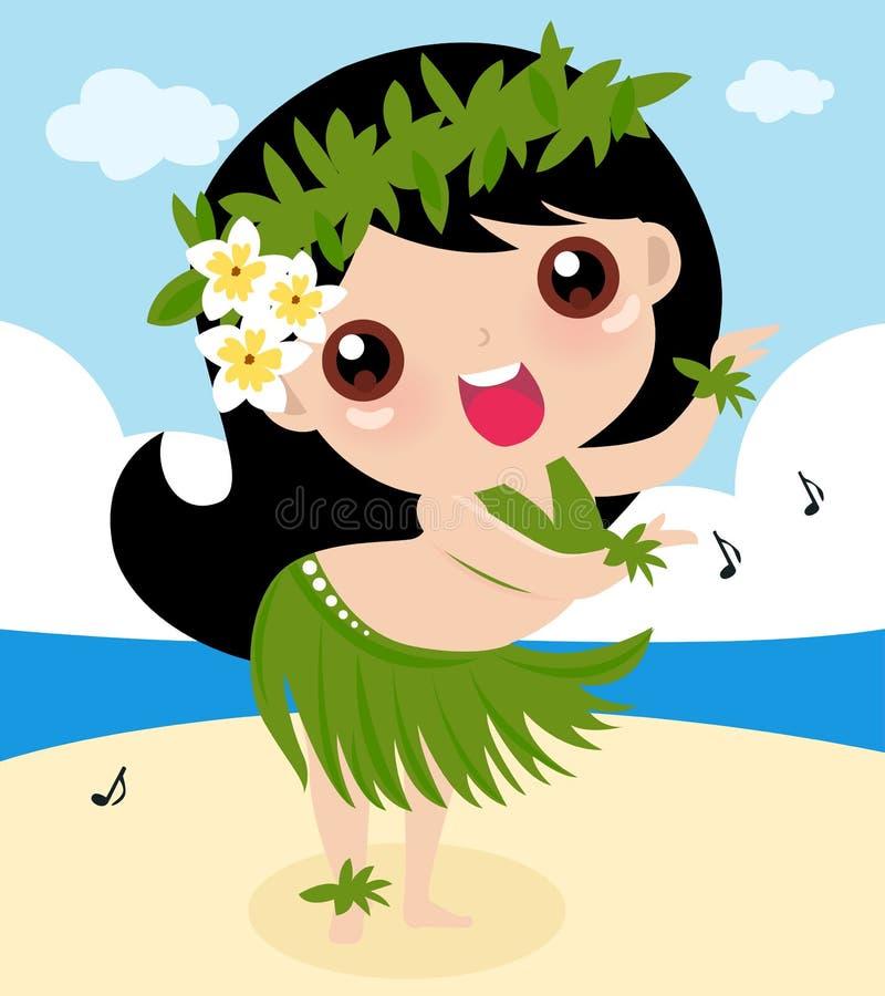 Menina de hula engraçada ilustração do vetor