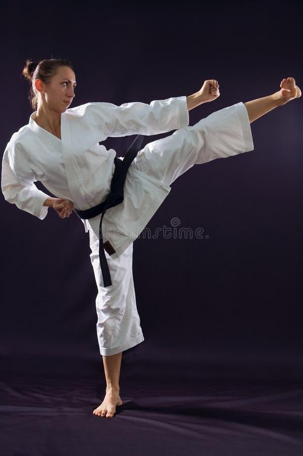 Menina de Karateka fotografia de stock