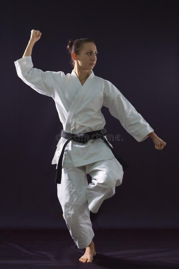 Menina de Karateka fotografia de stock royalty free