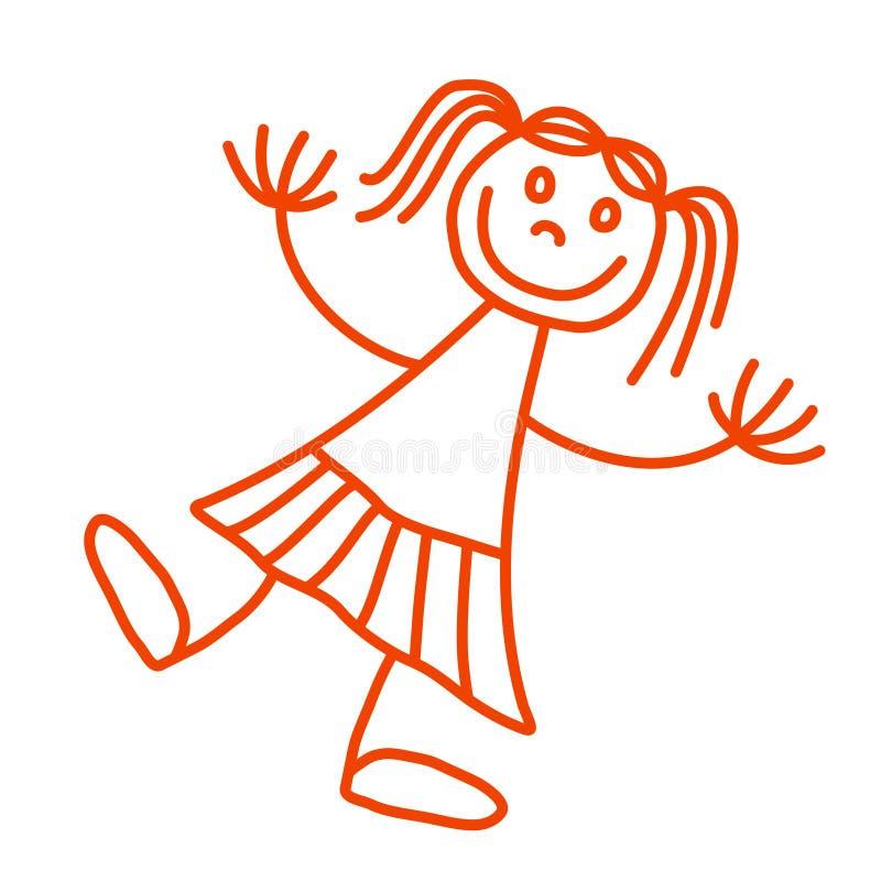 Menina de Lineart ilustração royalty free