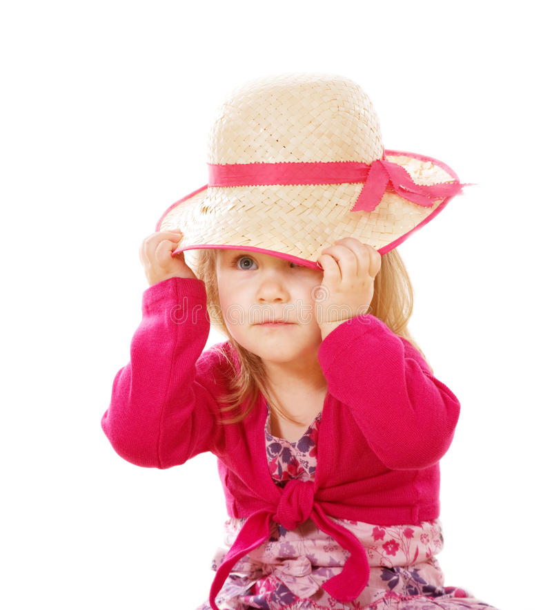 Menina de Llittle com chapéu da senhora fotos de stock royalty free