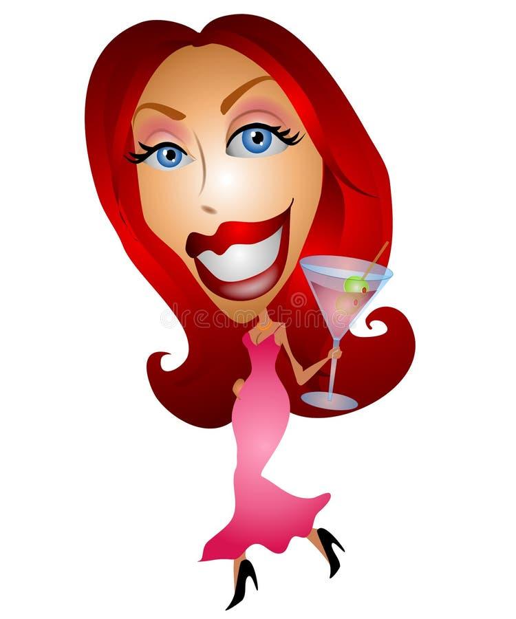 Menina de partido com Martini cor-de-rosa ilustração do vetor