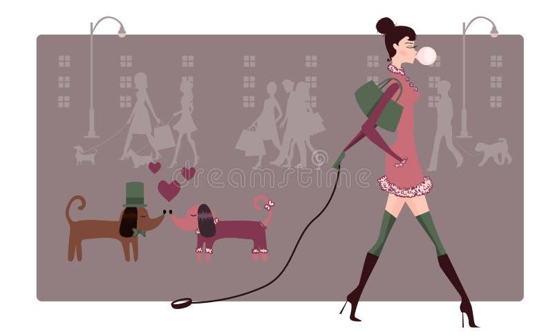 Menina de passeio com cães ilustração do vetor