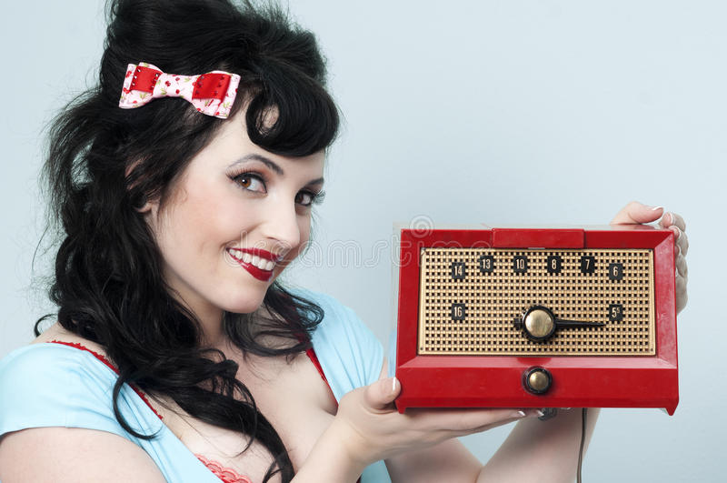 Menina de rádio de Pinup fotos de stock