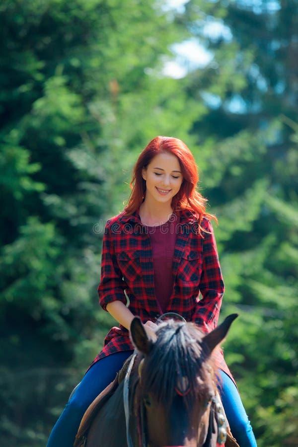 Menina de Redehad com o cavalo na floresta foto de stock