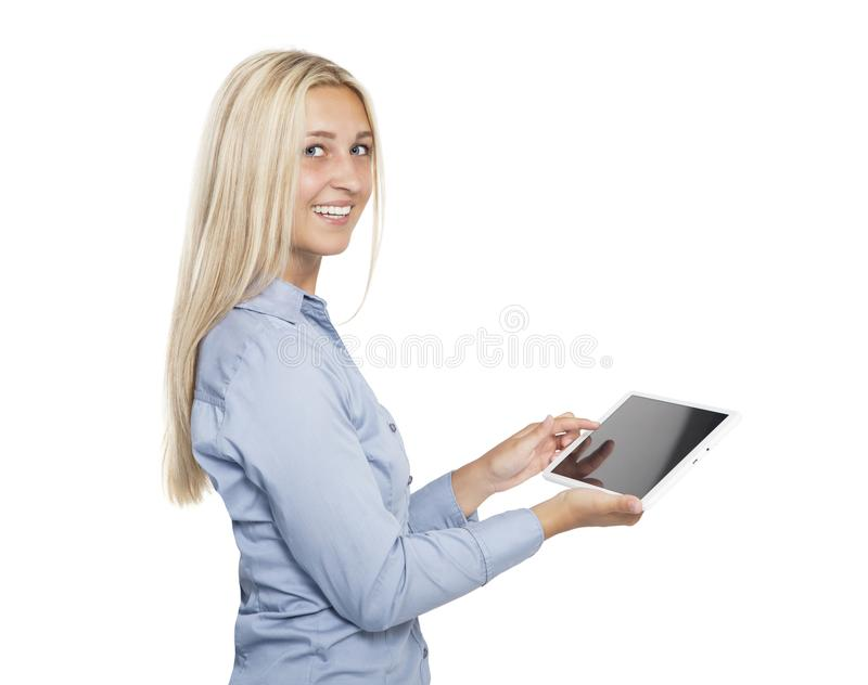 Menina de riso com tabletbook imagem de stock