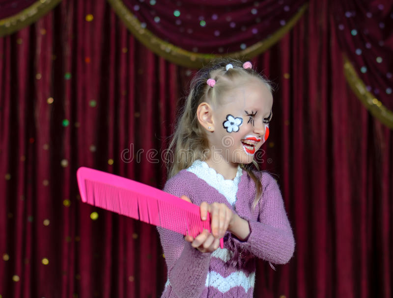 Menina de riso na composição cômica imagem de stock royalty free