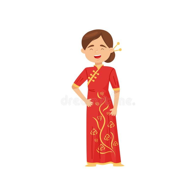 Menina de riso no traje nacional de China Fêmea no vestido vermelho brilhante Vestido de casamento chinês Projeto liso do vetor ilustração do vetor