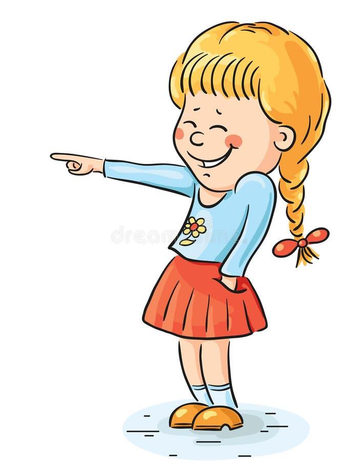 Menina de riso que aponta em algo ilustração stock