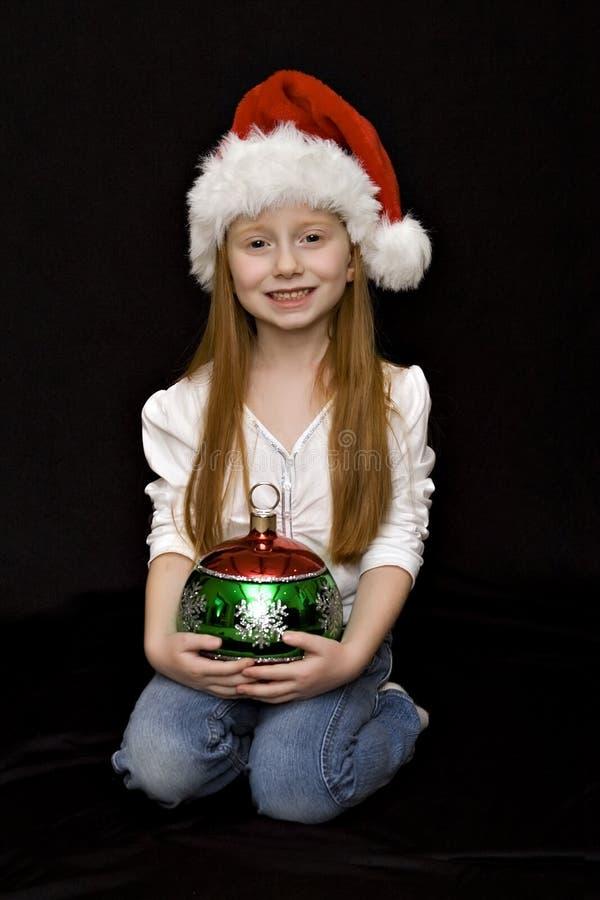 Menina de Santa com chapéu imagens de stock