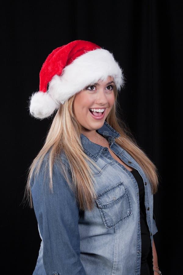 Menina de Santa do Natal fotografia de stock royalty free