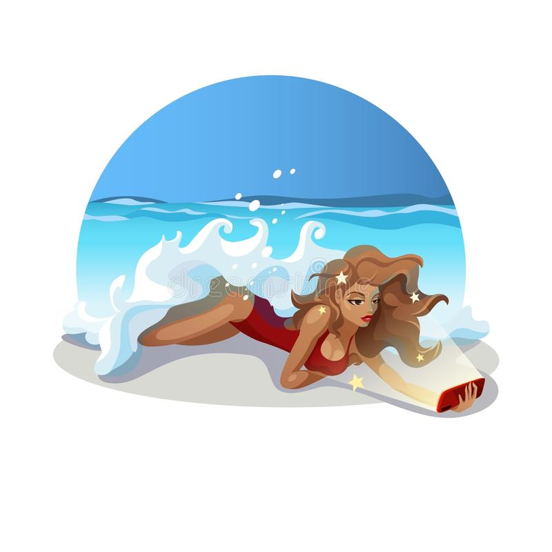 A menina de Selfie encontra-se na praia imagem de stock royalty free