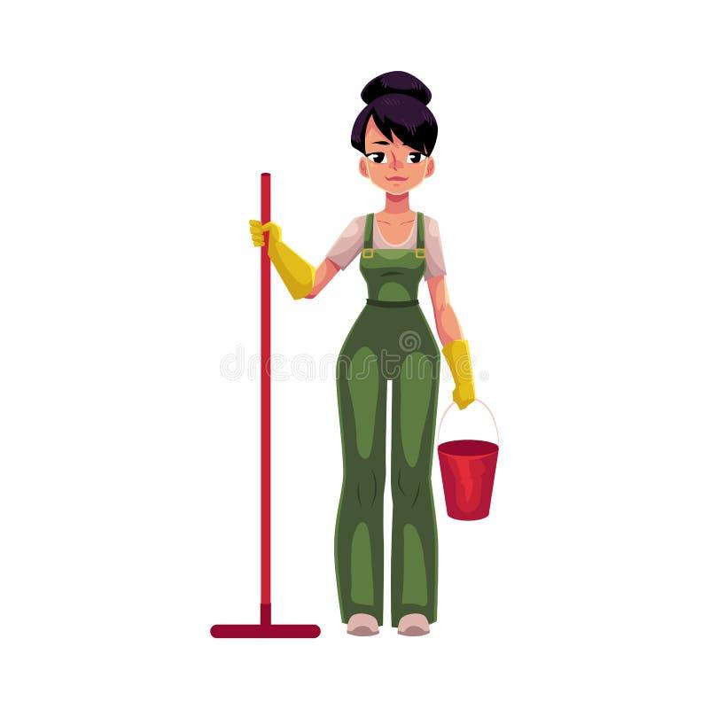Menina de serviço da limpeza, mulher a dias, líquido de limpeza nos macacões que guardam o espanador, cubeta ilustração royalty free