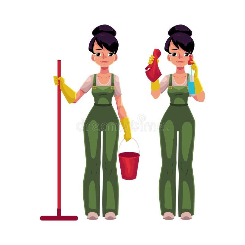 Menina de serviço da limpeza nos macacões que guardam o espanador, cubeta, janelas de lavagem ilustração stock