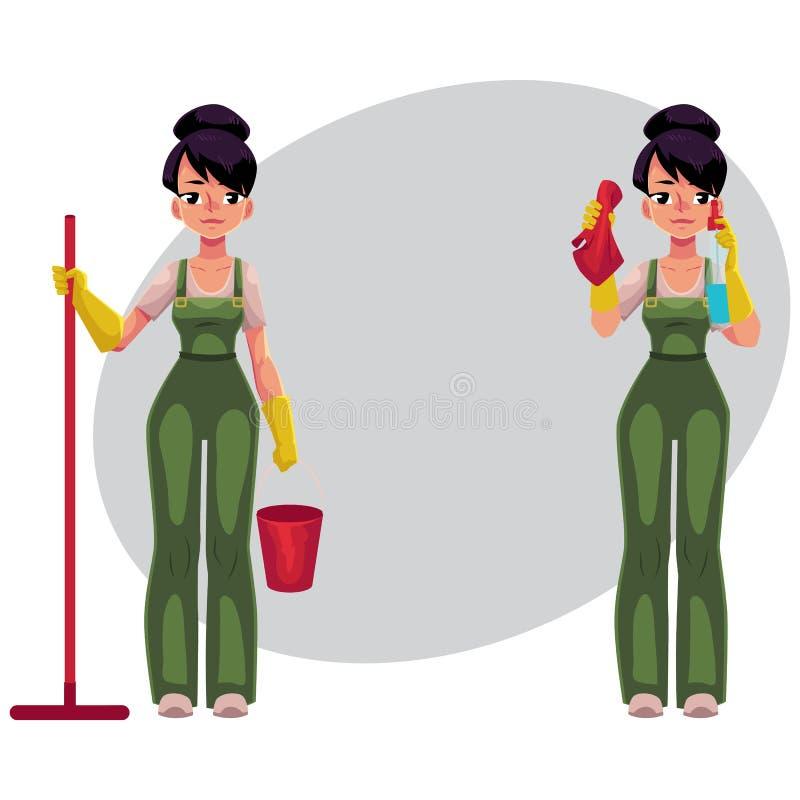 Menina de serviço da limpeza nos macacões que guardam o espanador, cubeta, janelas de lavagem ilustração do vetor