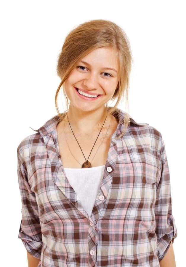 Menina de sorriso bonita na camisa fotografia de stock