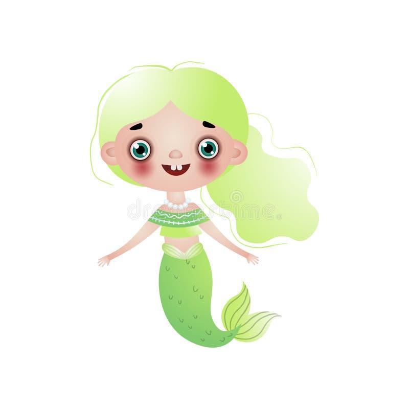 Menina de sorriso bonito da sereia com claro - grânulos verdes do cabelo ondulado e da pérola no pescoço isolado no branco ilustração royalty free