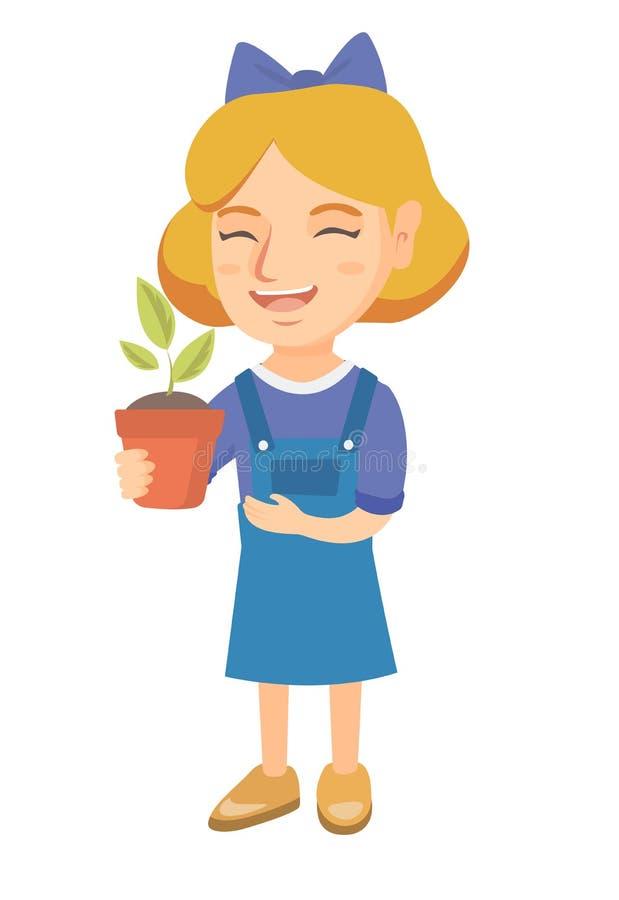 Menina de sorriso caucasiano que guarda uma planta em pasta ilustração royalty free