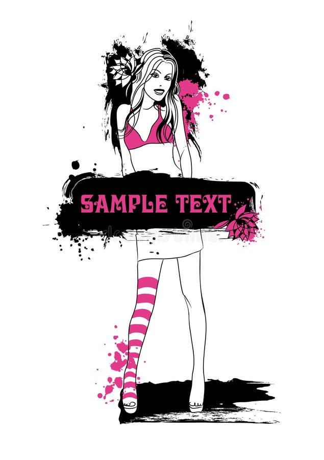 Menina de sorriso com mensagem ilustração stock