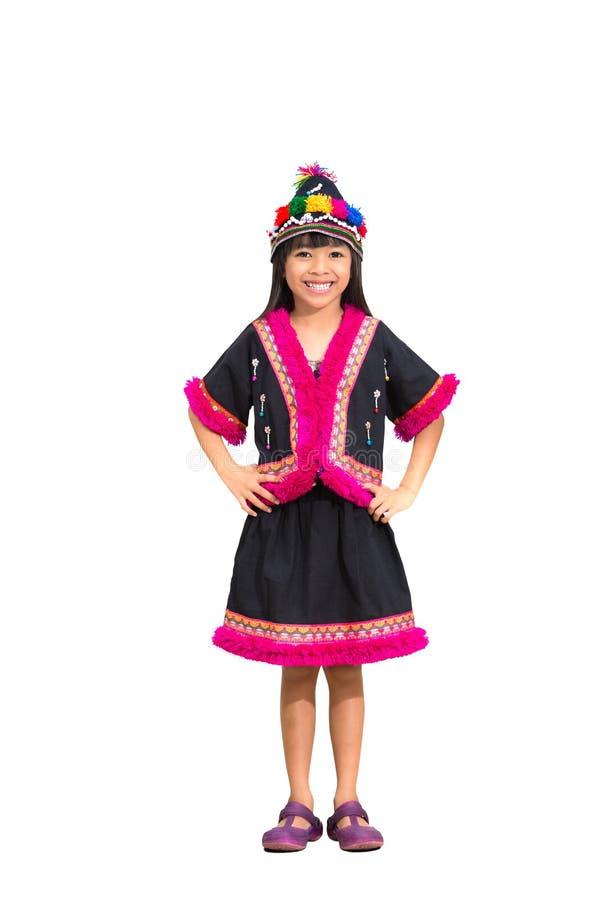 Menina de sorriso com o vestido do tribo do monte imagem de stock royalty free