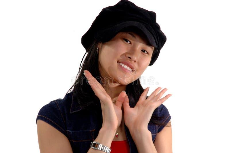 Menina de sorriso de Expresions imagem de stock